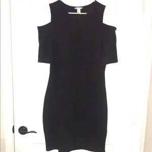 Fitted, cold shoulder, black rubbed dress.